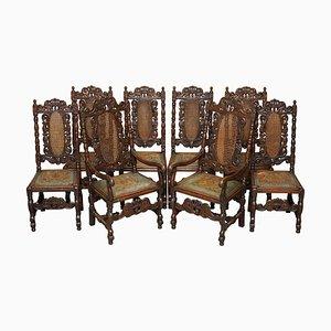 Geschnitzte jakobinische Thron Esszimmerstühle mit handbemalten & geprägten Ledersitzen, 8er Set