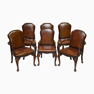 Viktorianische Handgefärbte Braune Leder Esszimmerstühle aus Nussholz, 6er Set