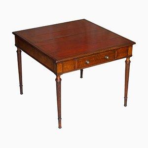 Viktorianischer 2-Sitzer Schreibtisch aus braunem Leder von Maple & Co.