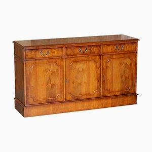 Vintage Burr Yew Wood 3-Drawer Cupboard