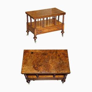 Antique Victorian Burr Walnut Canterbury Magazine Rack Table