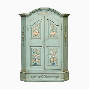 Vintage Hand Painted Blue Wardrobe with Floral Detailing