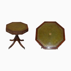 Regency Style Hardwood Green Leather Drum Table with Drawers