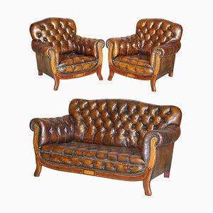 Set da salotto Chesterfield Art Nouveau antico in pelle marrone, set di 3