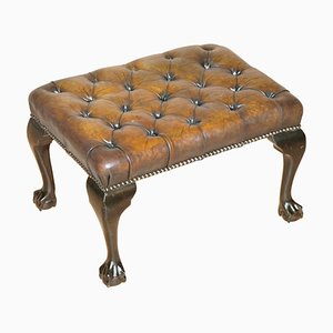 Cigar Brown Leather Chesterfield Footstool with Claw & Ball Feet, 1920s