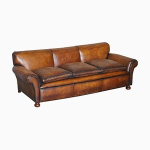Antique Victorian Hand Dyed Brown Leather Sofa
