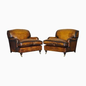 Vintage Cigar Brown Leather Club Chairs from George Smith Howard, Set of 2
