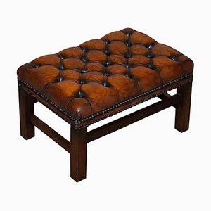 Vintage Hand Dyed Cigar Brown Leather Chesterfield Footstool