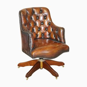 Cigar Brown Leather Chesterfield Chair