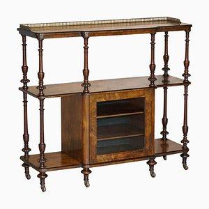 Burr Walnut Bookcase with Brass Gallery