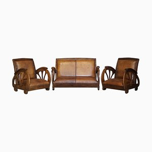 Art Deco French Brown Oak Saddle Leather Sofa & Armchairs, Set of 3