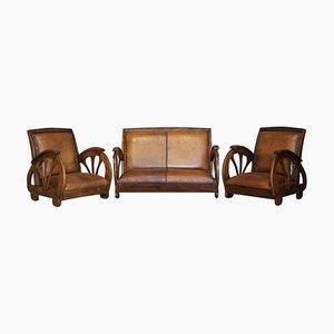 Französisches Art Deco Sofa & Sessel aus braunem Eichenholz, 3er Set