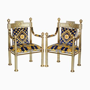 Large Gianni Hollywood Regency Brass Framed Throne Armchairs from Versace, Set of 2