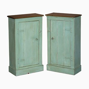 Tall Hand Painted Pine Cupboards, Set of 2