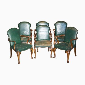 Victorian Walnut & Green Leather Dining Chairs, Set of 6