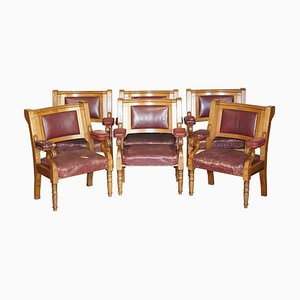 Large Leather & Golden Oak Armchairs, Set of 6