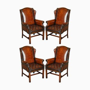 Hand Dyed Brown Leather Chesterfield Wingback Armchairs, Set of 4