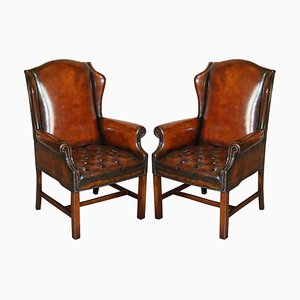Hand Dyed Brown Leather Chesterfield Wingback Armchairs, Set of 2