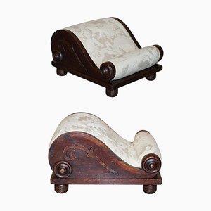Antique Georgian Footstool with Angel Cherub Upholstery, 1800s