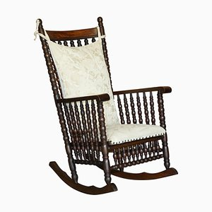 Victorian Oak Rocking Chair with Scottish Bobbin Decoration & Cherub Fabric
