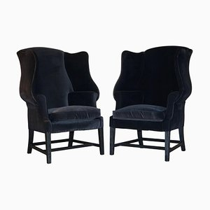 Vintage Black Velvet Wingback Armchairs from George Hepplewhite, Set of 2