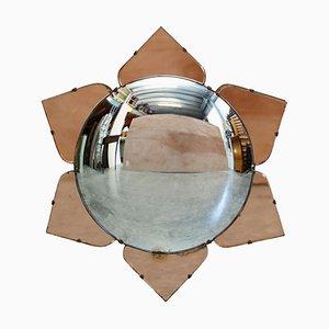 Sublime 1930s Convex Art Deco Peach Glass Bevelled Venetian Round Petal Mirror