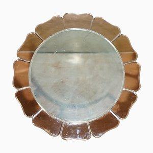 Large Round Art Deco Venetian Bevelled Peach Glass Mirror, 1930s