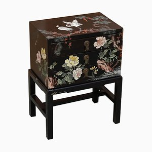 Japanese Hand Painted Black Lacquer Side Table on Stand with Crane Birds