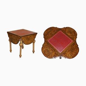 Antiker ausziehbarer Spieltisch aus Nusswurzelholz