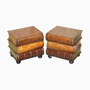 Leather Bound Side Tables with Drawers, Set of 2