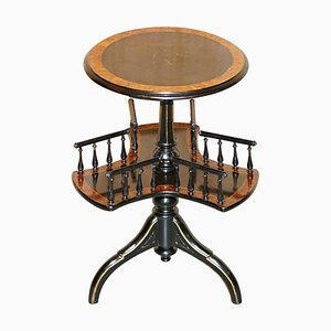 Aesthetic Movement Burr Walnut Amboyna Rotating Book Table from Gillow of Lancaster