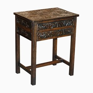 Japanese Hand Carved Side Table with Cutlery Drawers from Liberty's, London