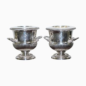George III Sterling Silver Wine Coolers with Coat of Arms, 1813, Set of 2