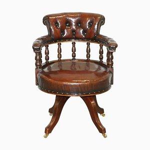 Chaise Pivotante Antique en Cuir Marron, 1860s