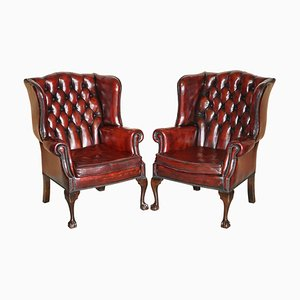Claw & Ball Wingback Chesterfield Armchairs in Bordeaux Leather, Set of 2