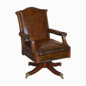Cigar Brown Leather & Oak Captain's Armchair