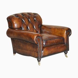 Tufted Cigar Brown Leather Chesterfield Armchair from George Smith