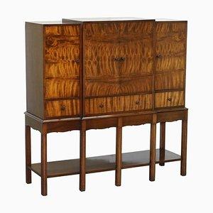 Gestanzter Vintage Barschrank aus geflammtem Hartholz von Waring & Gillows