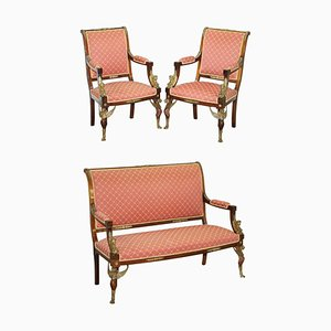 19th Century French Empire Egyptian Sphinx Sofa & Armchairs in Ormolu & Hardwood, Set of 3