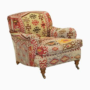 Large Chair with Scroll Arms in Kilim Upholstery from George Smith