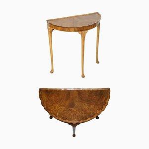 Vintage Art Deco Style Burr Walnut Demi Lune Console or Side Table