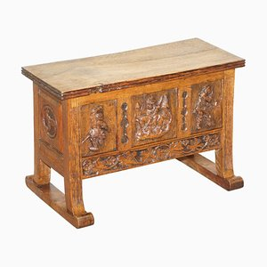 Danish Hand Carved Oak Chest or Bench with Internal Storage, 1840s