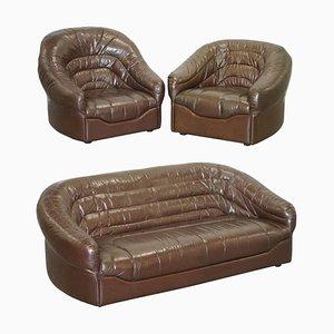 Divano Mid-Century moderno in pelle marrone con poltrona, set di 3