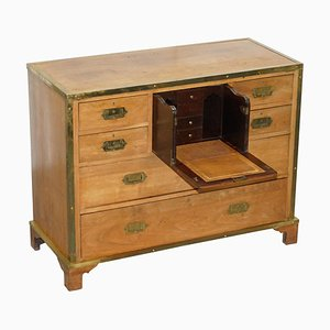 Solid Oak & Brass Military Campaign Chest of Drawers with Secretaire Desk, 1880s