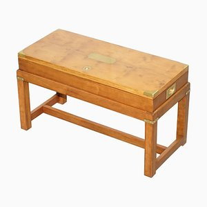 Burr Yew Wood Military Campaign Gun Case Side Table on Original Base