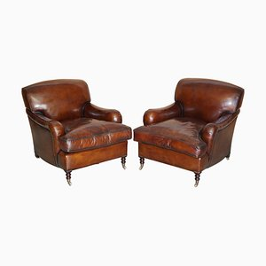 Hand Dyed Brown Leather Armchairs with Scroll Arms by George Smith, Set of 2