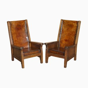 Hand Dyed Brown Leather Armchairs by Robert Mouseman Thompson, 1950s, Set of 2