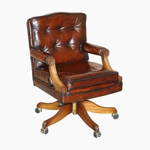 Cigar Brown Leather & Oak Captain's Chesterfield Armchair