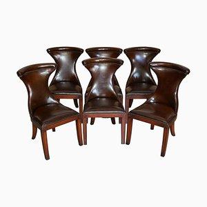 Zigarrenbraune Leder Esszimmerstühle von Ralph Lauren, 6er Set