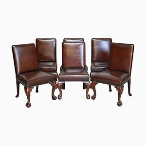 Brown Leather & Hardwood Claw & Ball Dining Chairs, Set of 6
